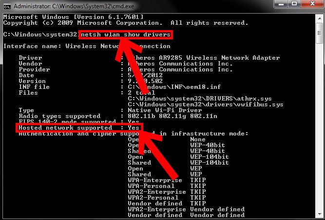 Hotspot WiFi Prompt dei comandi Windows 10