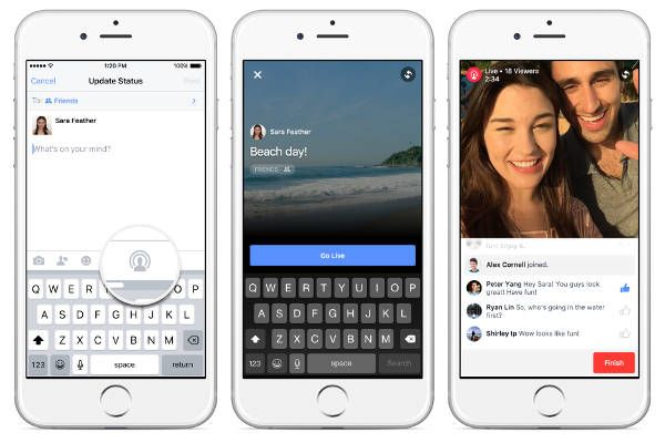 Live streaming Facebook su iPhone