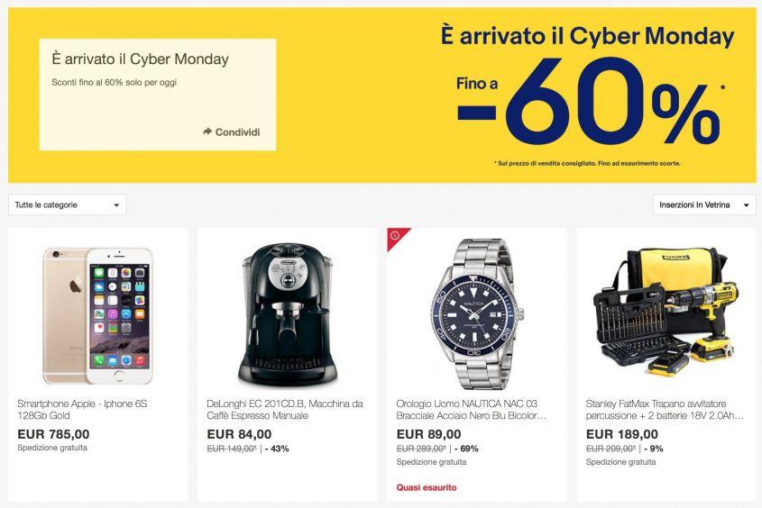 eBay Cyber Monday 2016 sconti e promozioni
