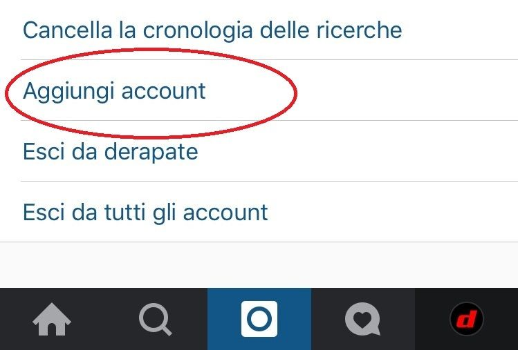 instagram aggiungi account