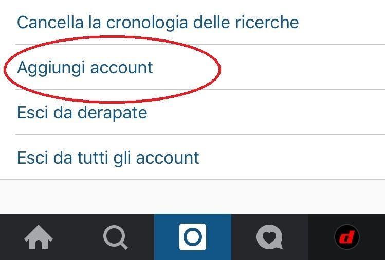 instagram aggiungi account