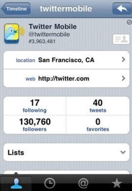 Twitter per iPhone - informazioni utente