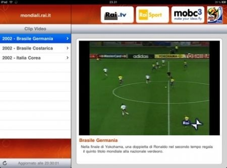 RaiMondiali Plus per iPad - partita