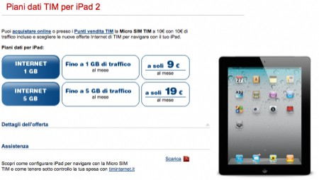 iPad 2 piani tariffari Tim