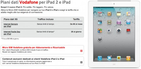 iPad 2 piani tariffari Vodafone