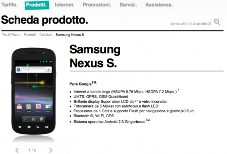 Nexus S 3 Italia