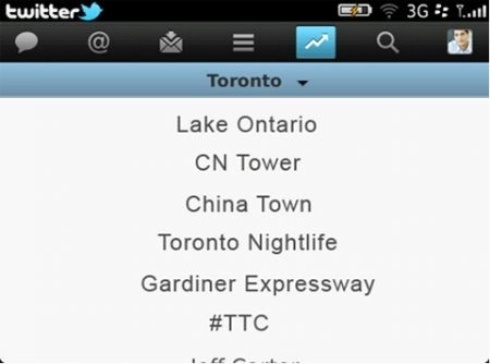 Twitter 2.0 per Blackberry menu