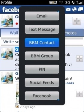 Facebook per BlackBerry messenger