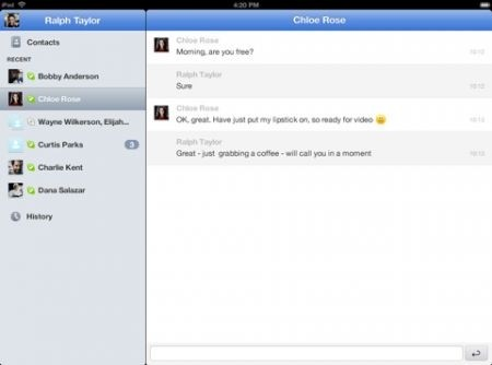Skype per iPad chat